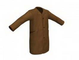 Beige covert coat for men 3d model
