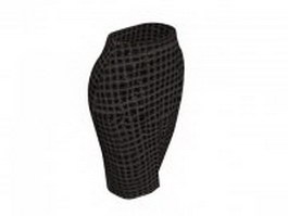 Brown tweed pencil skirt 3d model