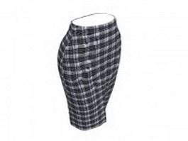 Plaid pencil skirt 3d model