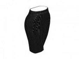 Vertical striped pencil skirt 3d model