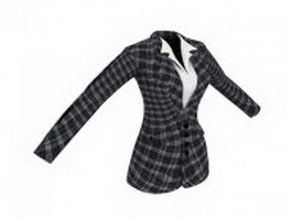 Plaid suit jacket for women 3d model