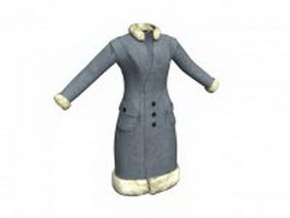 Warm winter coat for women 3d model
