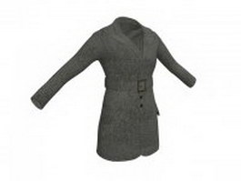 Winter overcoat for women 3d model