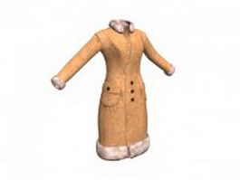 Fur coat for women 3d model