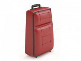 Red leather luggage bag 3d model