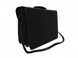Black leather briefcase 3d model