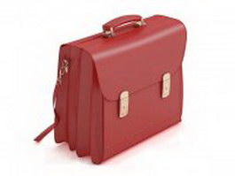 Lady briefcase with shoulder strap 3d model