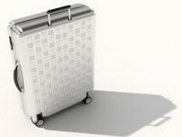 Silver luggage suitcase 3d model