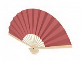 Red paper hand fan 3d model