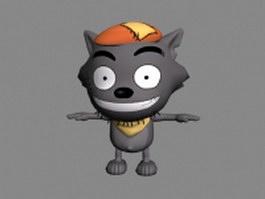 Cartoon grey wolf 3d model