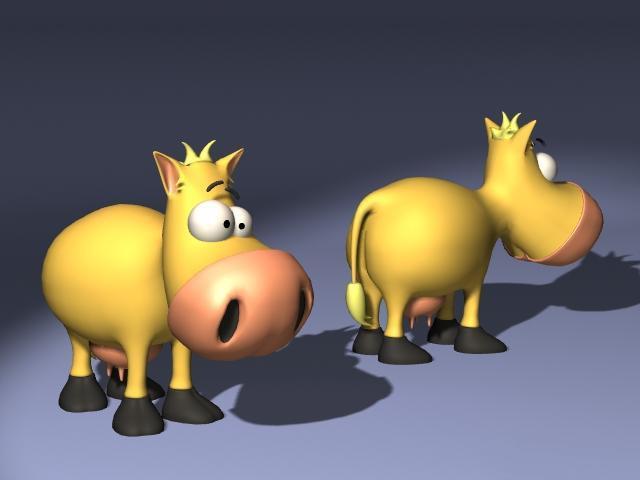 Silly cartoon cow 3d model 3D Studio,Cinema 4D,Lightwave files free