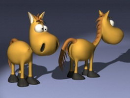 Cartoon cute little horse 3d model