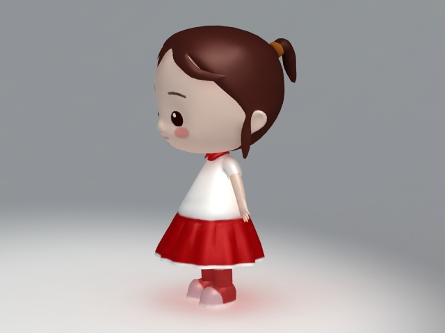 Cartoon Characters 3d Model : Little girl cartoon character d model ds max object