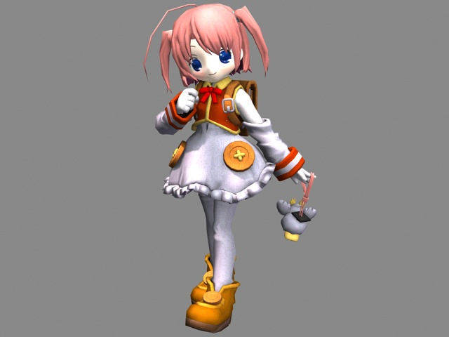 3D Character Model Of Anime Girl With Red Hair Available File Formats Max 3ds Scanline Render Texture Type Dds Free Download This 3d Object