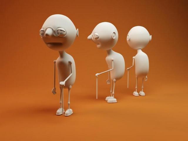 Cartoon old man 3d model Cinema 4D files free download - modeling