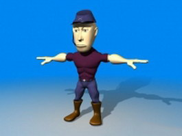 Cartoon man with hat 3d model