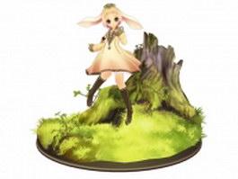 Anime elf girl 3d model
