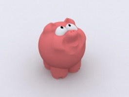 Pink cartoon pig 3d model