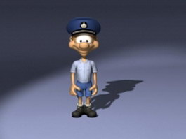 Cartoon postman character concept 3d model