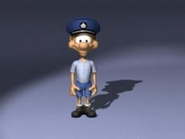 Cartoon postman character concept 3d model
