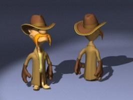 Cartoon sheriff character 3d model