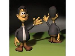 Cartoon man in suit 3d model