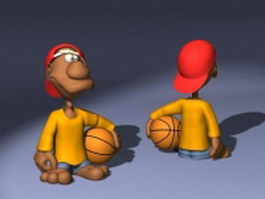 Short guy cartoon character 3d model