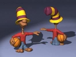 Basketball player cartoon character 3d model