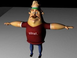 Rigged cartoon man 3d model