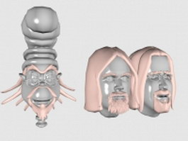 Cartoon character head 3d model