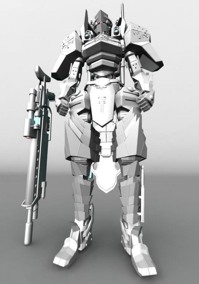 Humanoid Mecha For Video Game 3d Model Maya Files Free