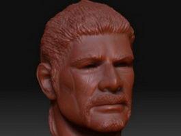 Moustache head 3d model