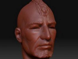 Punky man head 3d model