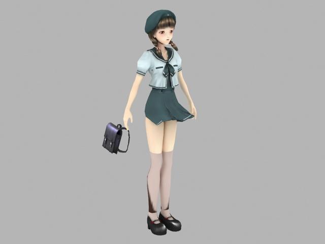 Anime school girl with handbag 3d model - CadNav