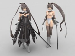 Anime girl fighter with sword 3d model