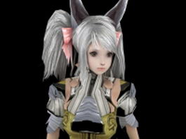 Anime fighter girl 3d model