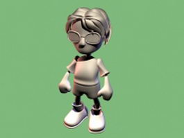 Cartoon boy with glasses 3d model