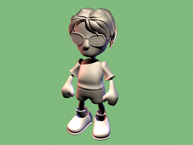 Cartoon boy with glasses 3d model