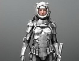 Rigged Sci Fi girl in armor 3d model