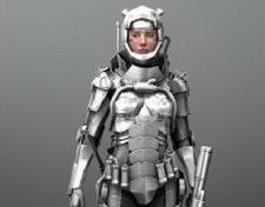 Rigged Sci Fi girl in armor 3d model