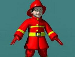 Fireman kids 3d model