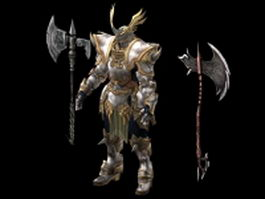 Armored warrior with battle axe 3d model