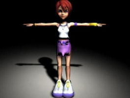 Little red hair girl 3d model