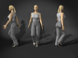Casual woman walking 3d model