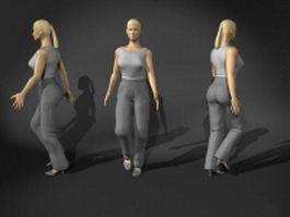 Casual woman walking 3d model