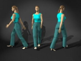 Woman in a walking pose 3d model