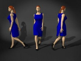 Walking woman in blue dress 3d model