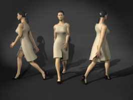 Office woman in walking pose 3d model