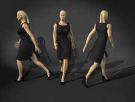 Woman walking in black dress 3d model