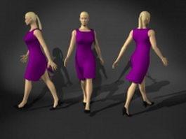 Business woman walking pose 3d model
